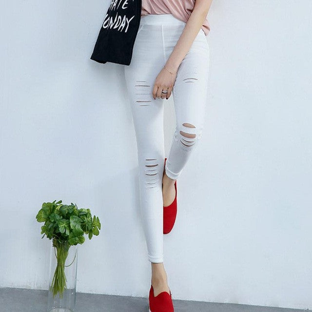 Cotton Elastic Skinny Pencil Ripped Jeans - awashdress