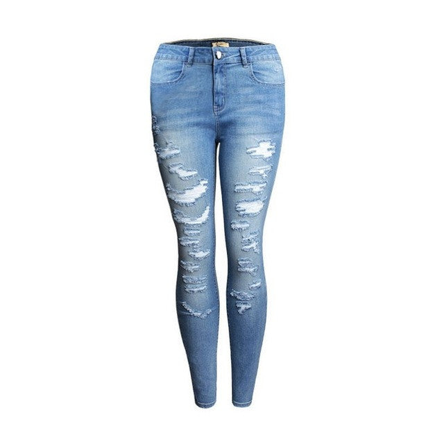 High Waist Cotton Denim Ripped Jeans