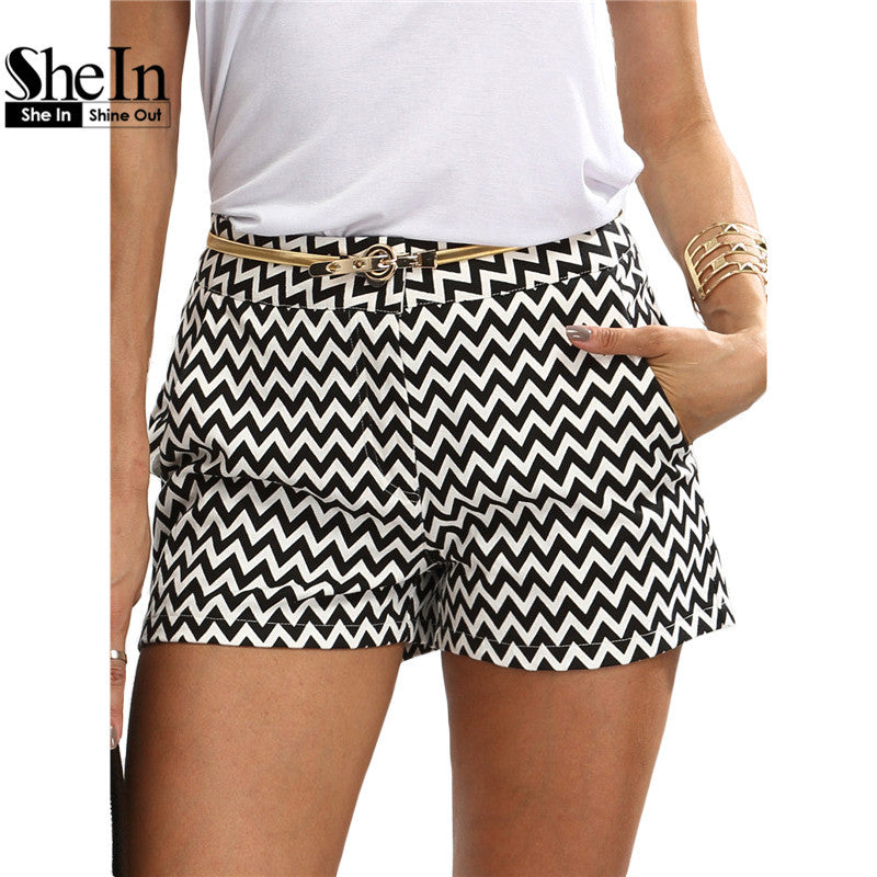 Black and White Mid Waist Button Fly Cotton Shorts - awashdress