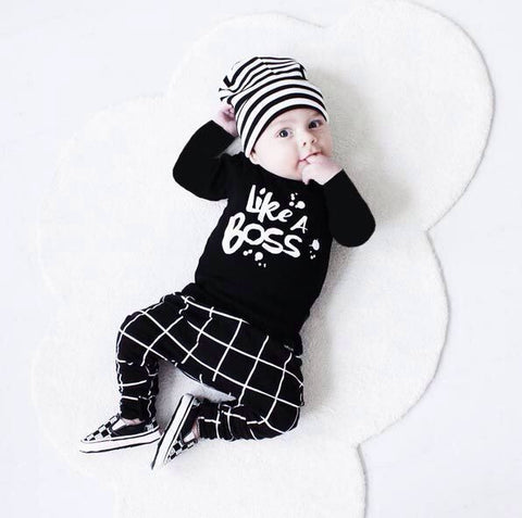 Infant Girl clothes set Long Sleeve Romper+Pants +Headband 3Pcs suit