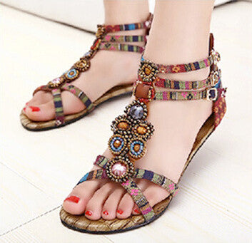 Flat Ankle T-strap Fashion sandals