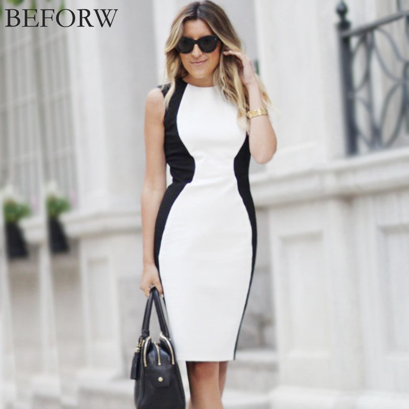 Sleeveless Black And White Splice Dress