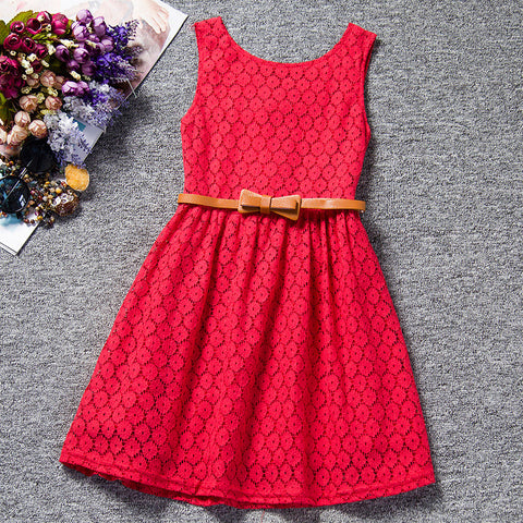 Lace belt summer dress