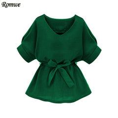 Green V Neck Half Sleeve Self Tie Slim Blouse
