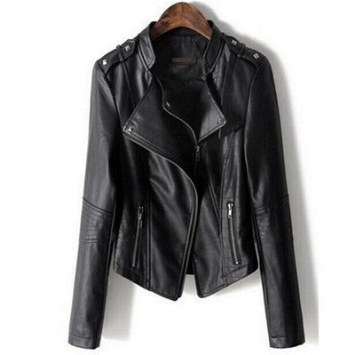 Zipper Motorcycle Faux Leather Coat