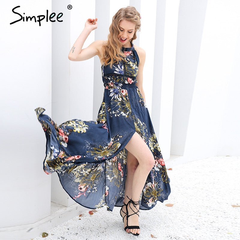 Floral long dress backless party dress