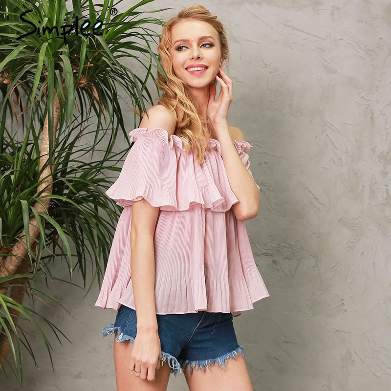Off shoulder ruffle blouse shirt