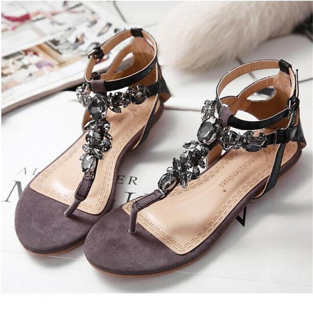 Decorative Flat Sandals Roman Thong - awashdress