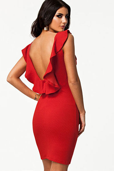 Bodycon Dress with Ruffled Backless - awashdress