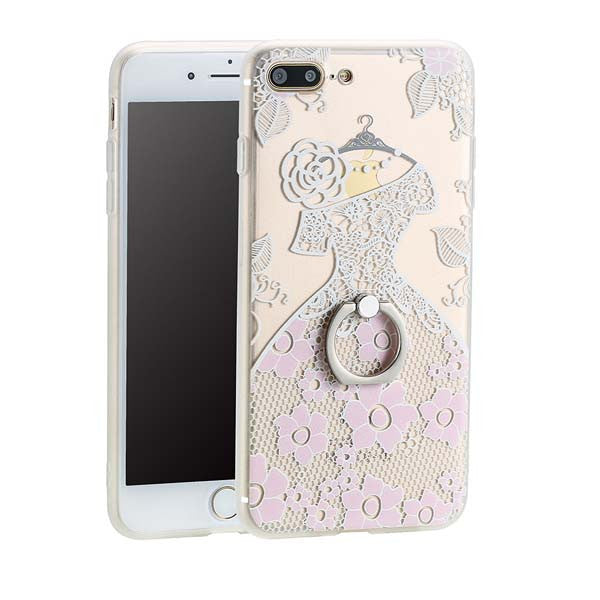 Lace Style Ring Holder Stand Phone Cases For iPhone's