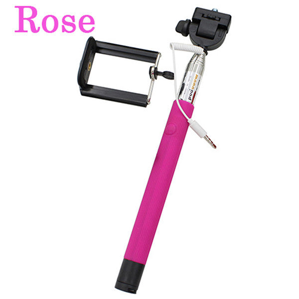 Universal Extendable Handheld Audio Cable Wired Selfie Stick - awashdress