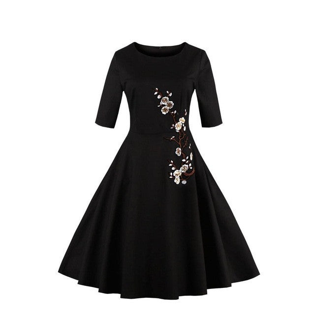 Embroidery Dress Floral Half Sleeve