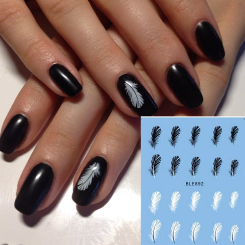 1 sheet Black and White Feather DIY Nail Polish Sticker - awashdress