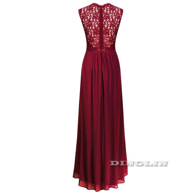 Lace Party Dress Chiffon Plunge V Neck Sleeveless maxi