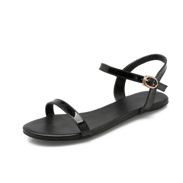 black white red flat Sandal - awashdress