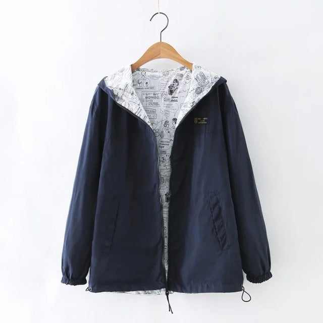 Two side wear Pocket Zipper hooded Jacket