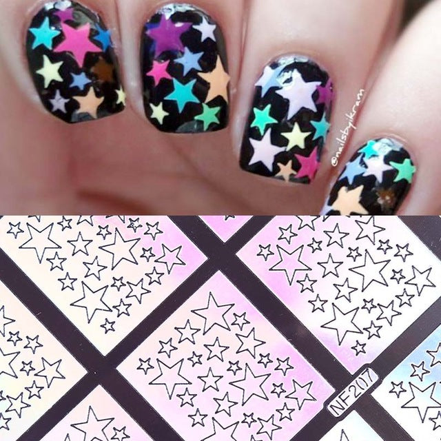 12 Sheet Irregular Triangle Pattern Nail Stencil - awashdress