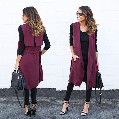 Sleeveless Waterfall Cape Long Cardigan