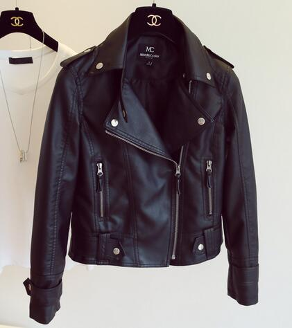 Leather Jacket women Slim Motorcycle