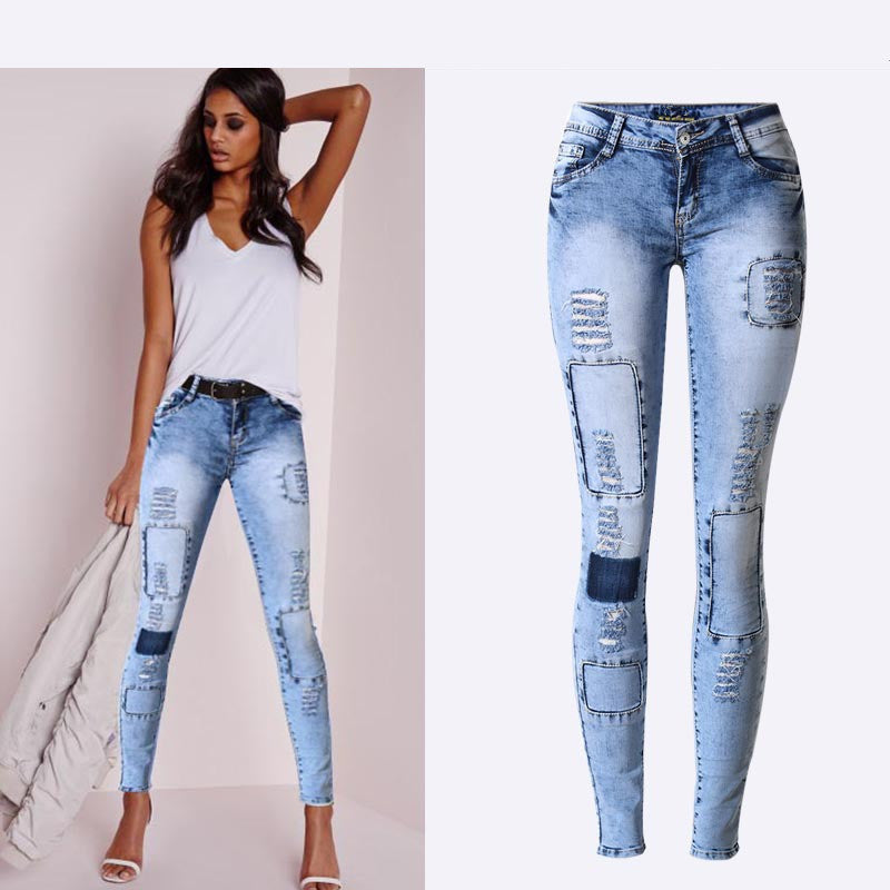 Low Waist Sky Blue Patchwork Skinny Tights Pencil Jeans