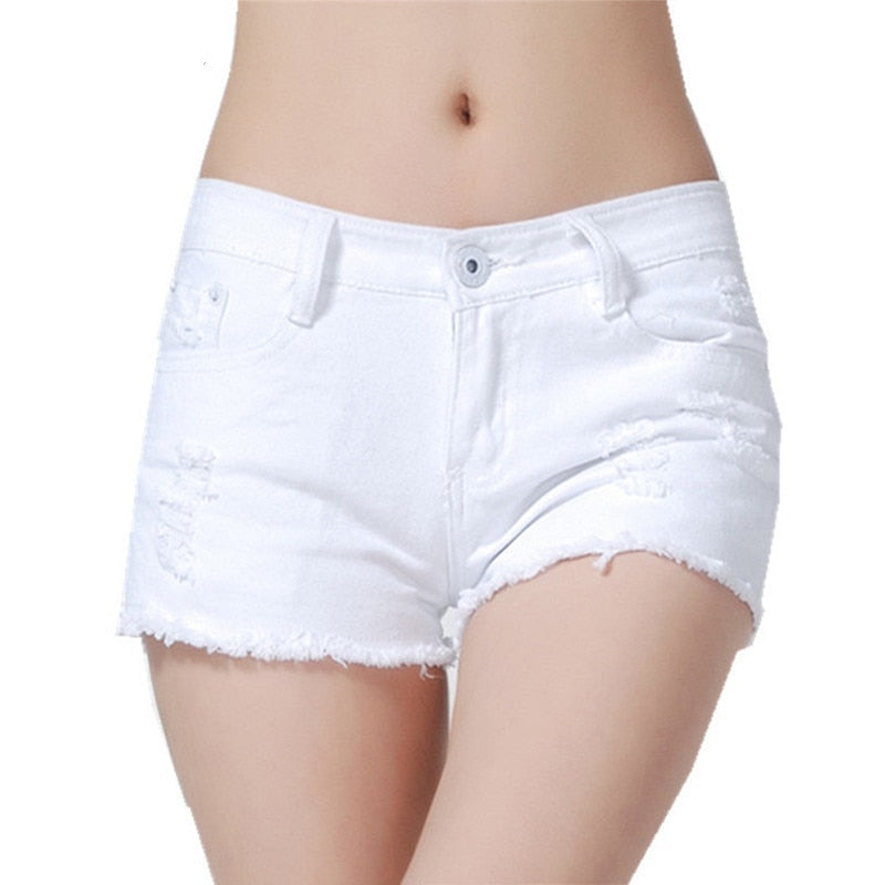 Low Waist Holes Wash Jeans