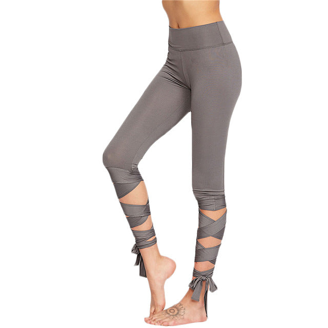 Waistband Crisscross Tie Up Leggings