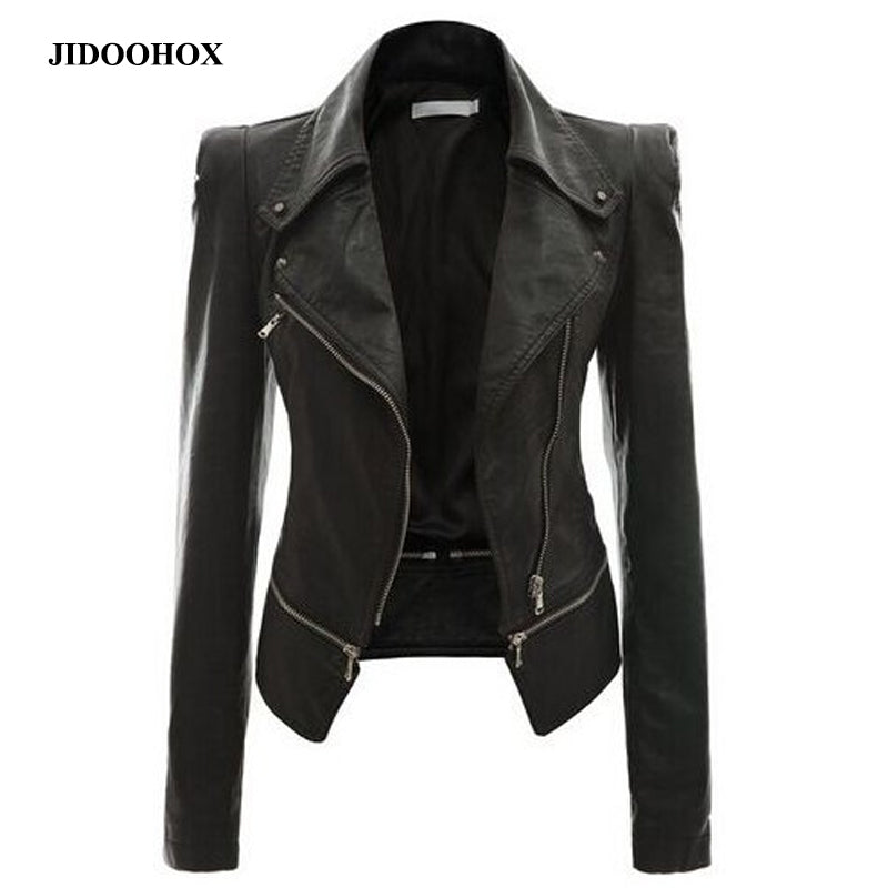 Faux leather coat Motorcycle zipper