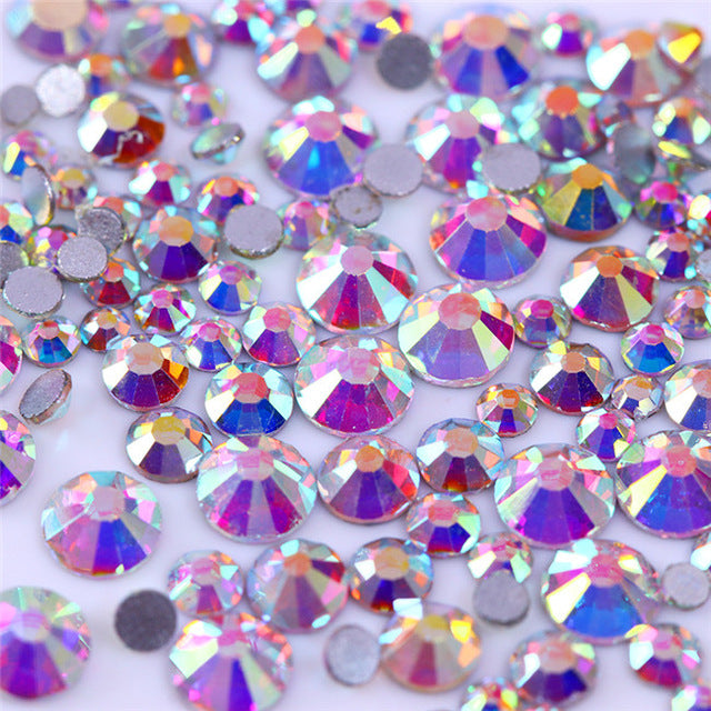 1 Bag Nail Rhinestone Multi-size Flat Bottom 2mm-5mm - awashdress