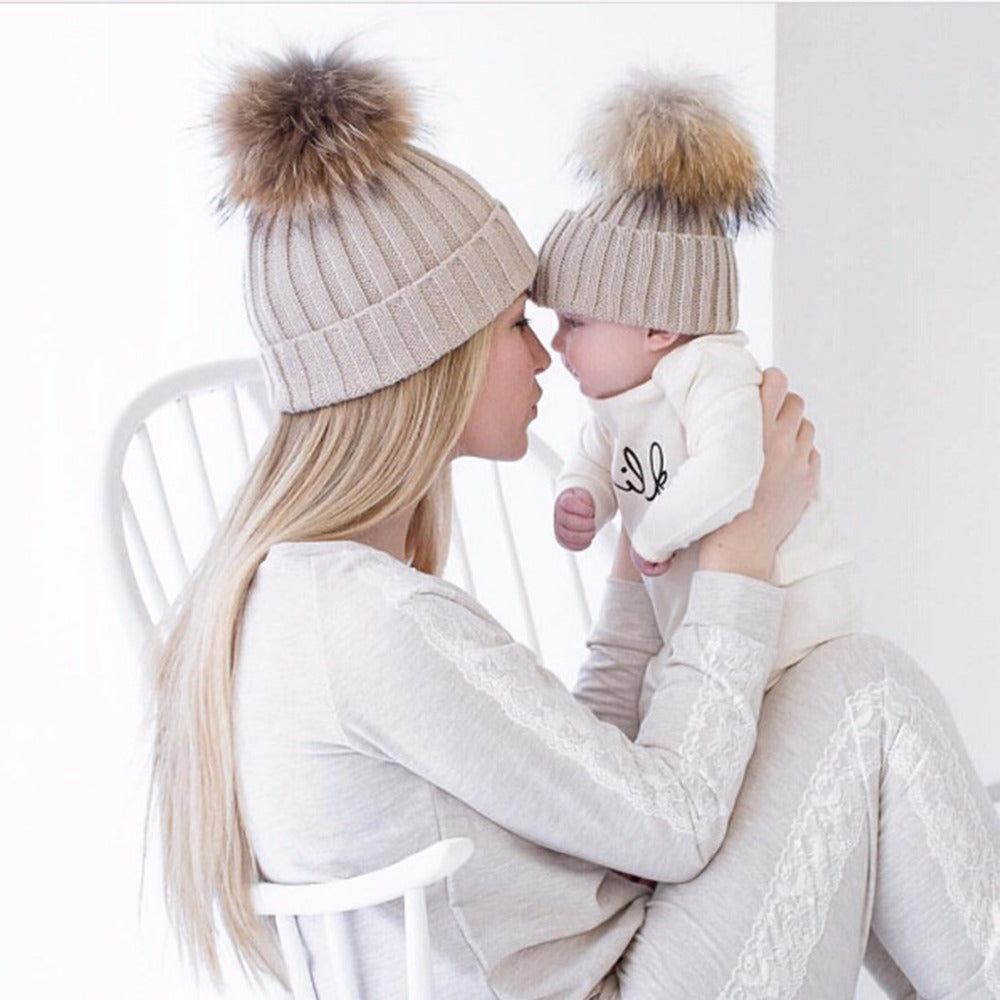 Mom&Kids Crochet Knit Hairball Cap