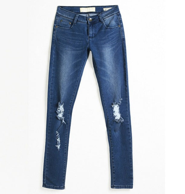 Denim Ripped Knees Skinny Jeans - awashdress