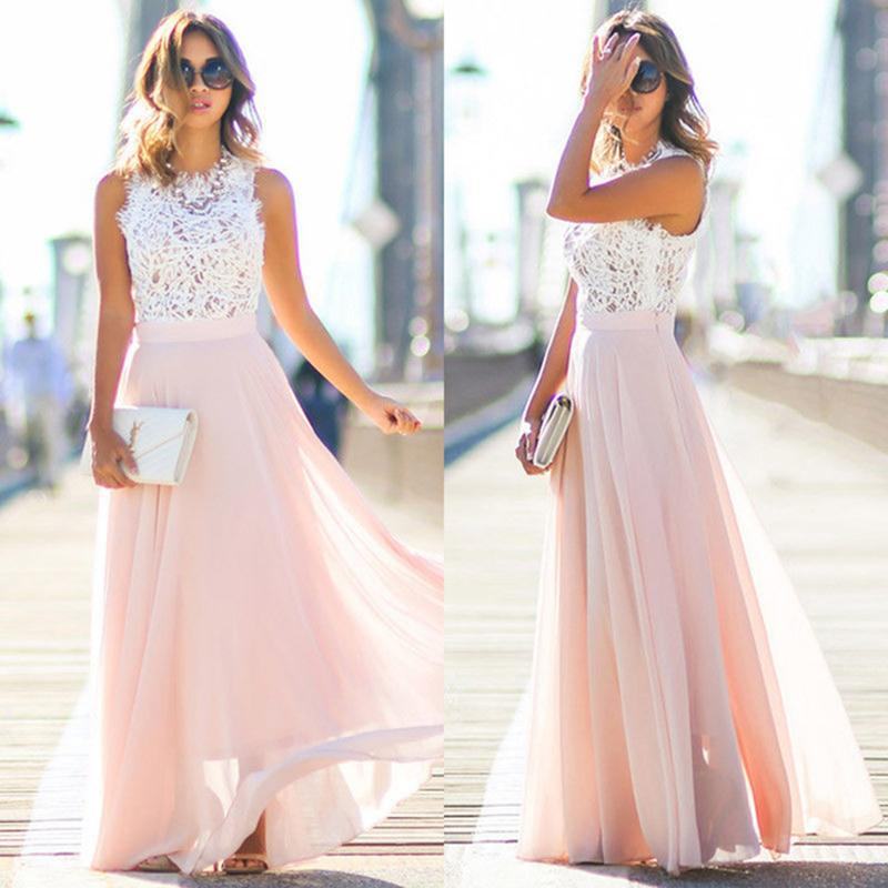 Chiffon lace Sleeveless Dresses - awashdress