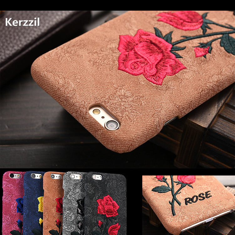 Embroidered Rose Phone Case for iPhone