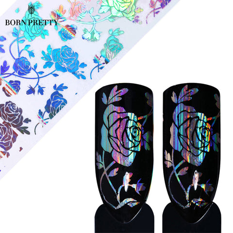 1 Roll Holo Rose Flower Starry Nail Foil 4*100cm - awashdress