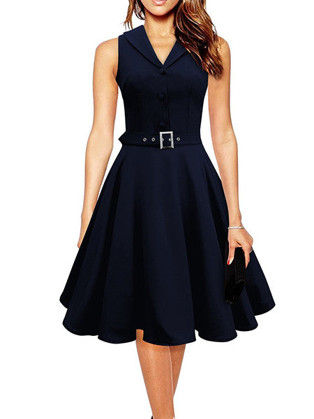 Elegant A-Line Sleeveless Dress - awashdress