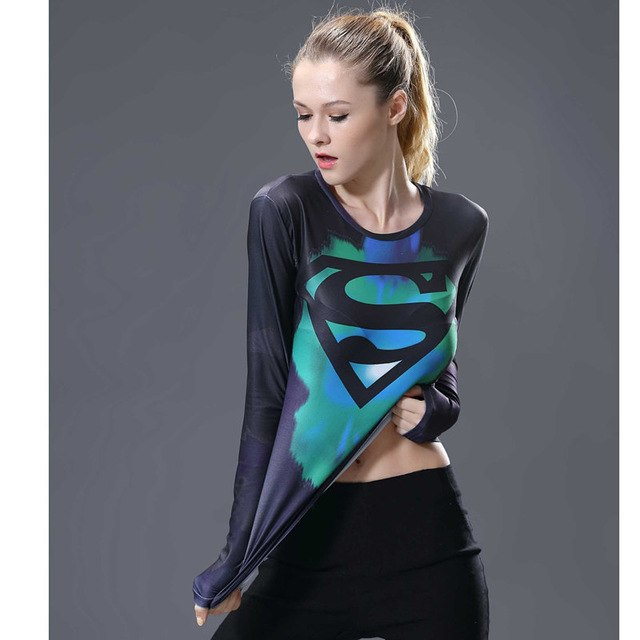 2017 Marvel Women T-shirt Bodys costume Superman T Shirt Long Sleeve Ladies Fitness Tights Compression Shirt