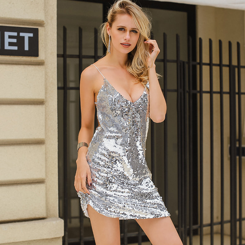 V Neck Autumn Silver Sequined Backless  dress
