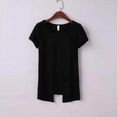 Backless cotton t-shirts top o-neck - awashdress