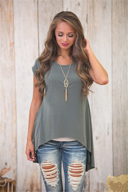 Short-sleeved ladies T-shirt back split