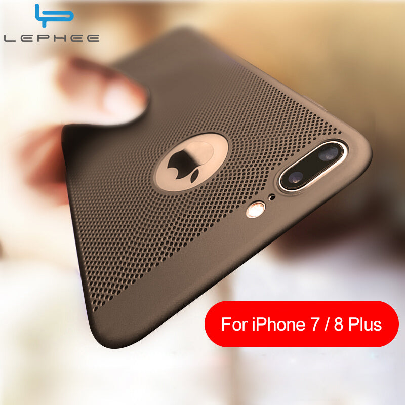 Back Heat Dissipation Hard PC Cover for iPhone 6 6S Plus 5s SE 7 10 5 Cases - awashdress
