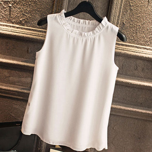 Sleeveless Blouses For Women Clothes Ruffle Elegant Vintage Feminine Shirts