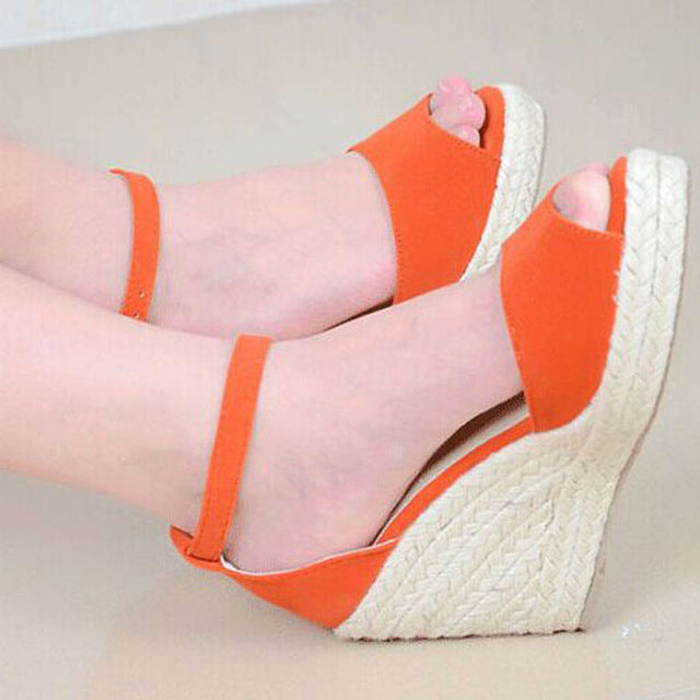 Sandals Peep-Toe Wedge Heels