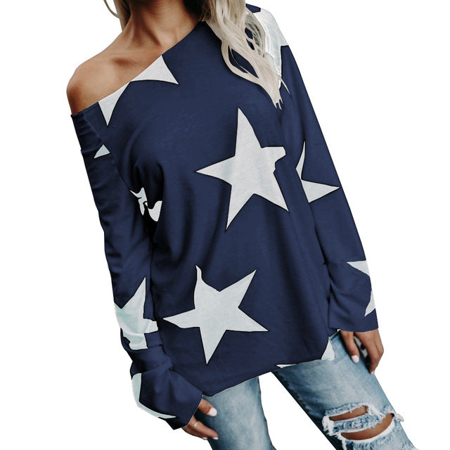 O-neck Print Stars Women Blouse Autumn