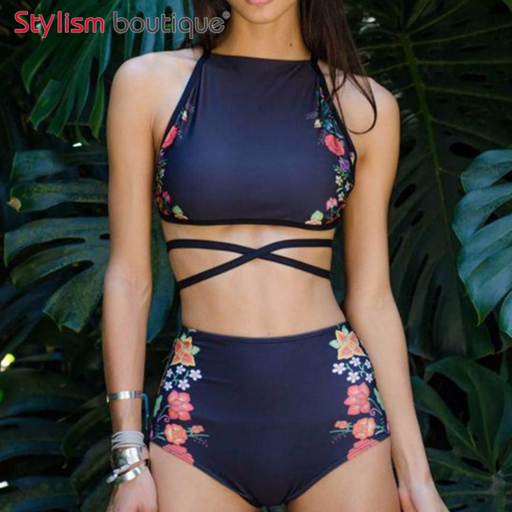 Floral Ethnic Printed High Waist Swimsuit Strappy