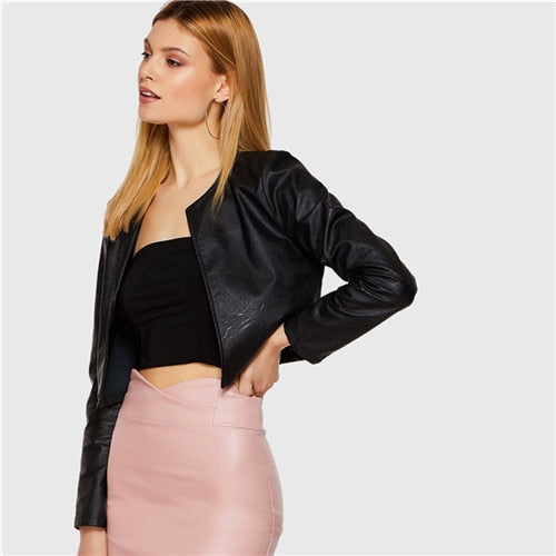 Faux Leather Short Jacket Spring