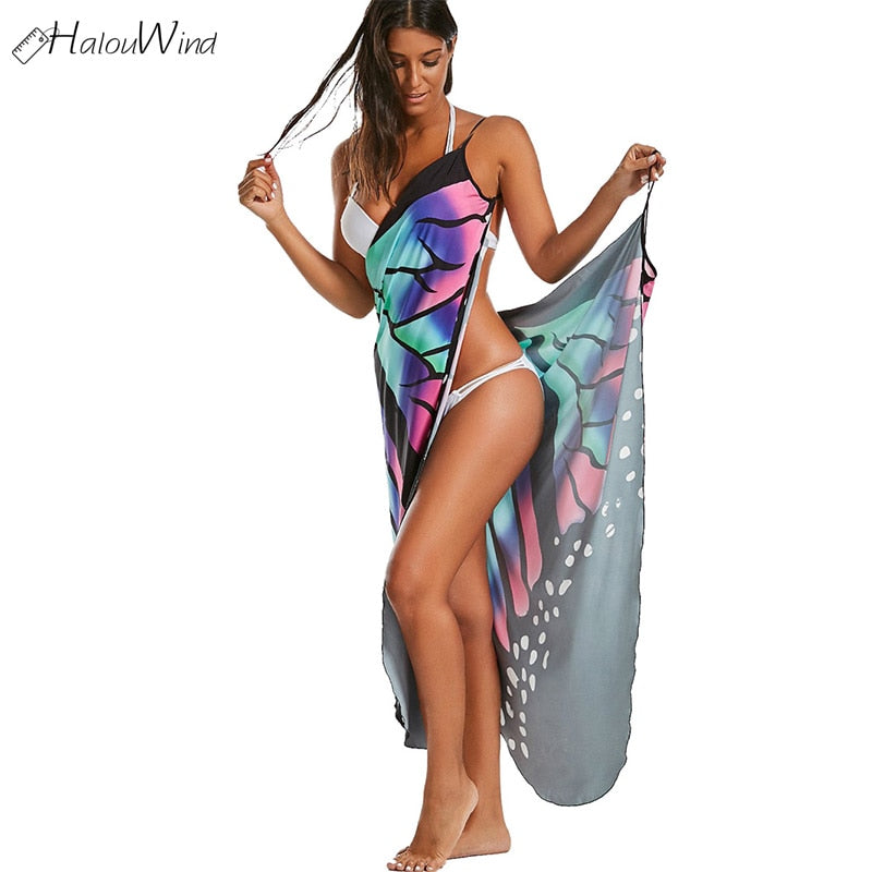 Women Beach Cover Multifunction Butterfly Sleeveless Long Wrap