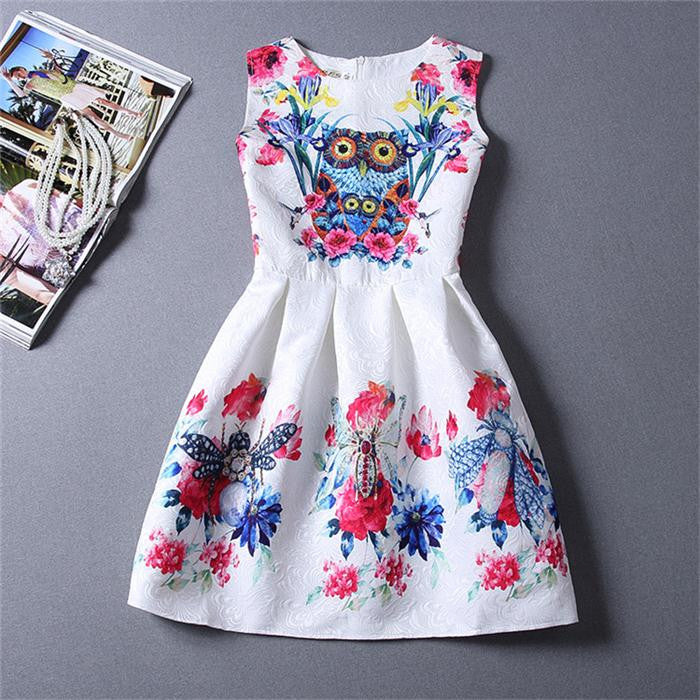 Butterfly Flower Printed Sleeveless Formal Dress
