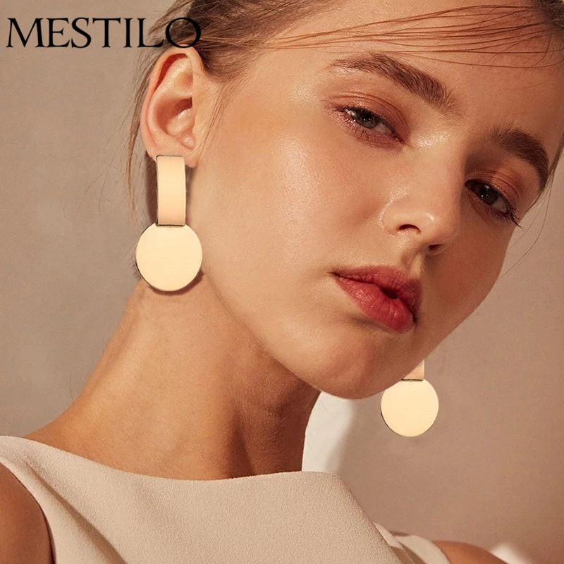 Round Coin Earrings Gold