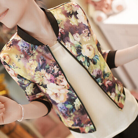 Floral Collar Long-sleeved Bomber Short Print Zipper Jacket - awashdress