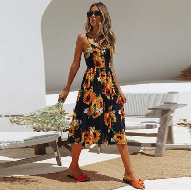 V Neck Backless Floral Summer Beach sundress dress Women Striped Button Sunflower Daisy Party Midi Dresses