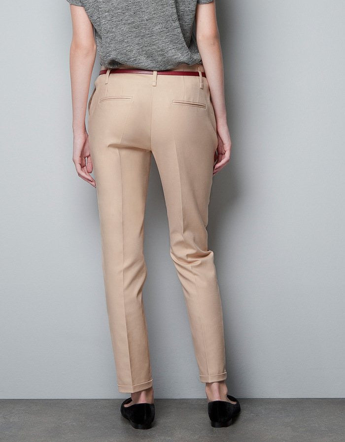 Elegant Fashion Ladies Pencil Pants with belt - awashdress